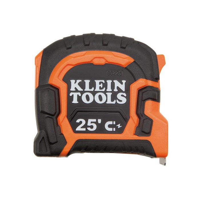 This 25-foot tape measure features a magnetic double hook that has a center top portion for hanging onto conduit and a 1-1/4 inch flared hook designed specifically to pass-through 1-3/8 inch holes drilled for 1-inch conduit. Its' sealed tape brake panel allows safe retraction and keeps water and dirt out to prevent tape blade rust and degradation. SKU: KLE86225  UPC: 092644862250