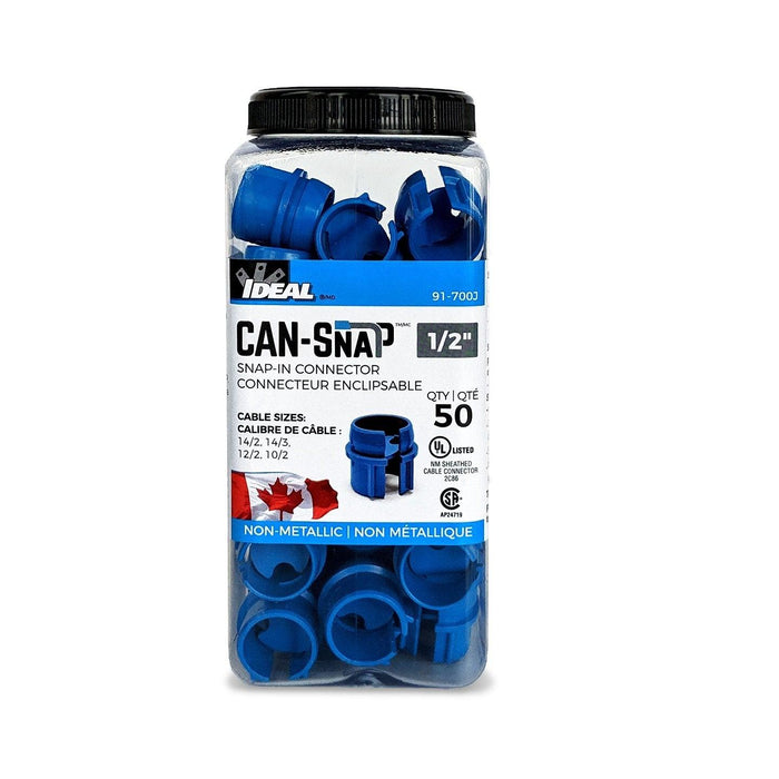 Can-Snap provides superior protection from cable damage that can be caused by rough knock-out edges, while securing cable in place. They are installed quickly and easily, without the use of tools. SKU: IDE91-700J  UPC: 624141034672