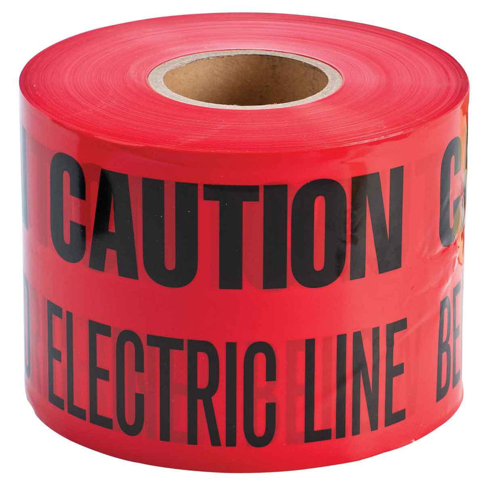 Identoline Underground Warning tape is detectable electrical tape that helps ensure burried electrical lines are not accidentally cut. Identoline warning tape is economical enough to use over the entire length of the line when compared to the cost of line damage. Made of heavy-duty B-720 polyethylene material that protects tape from acids, alkalis, and other soil substances.  SKU#: 91296 UPC: 754473912963