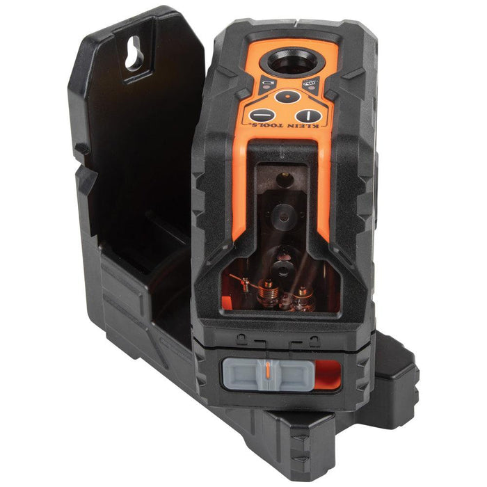 The Klein Tools Self-Leveling Green Cross-Line Laser Level is a high-performance laser leveling and alignment tool for professionals. This level provides a reliable pendulum self-leveling system with clear, bright laser level lines, and a 90-degree vertical plumb spot feature. UPC: 92644930041 SKU: KLE93LCLG