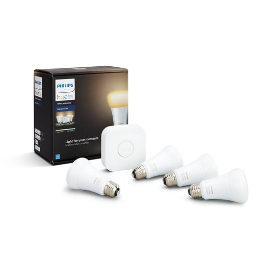 This Philips Hue white ambiance starter kit contains 4 bulbs and a bridge. It can help you fall asleep or wake up gently. Set the right ambiance with a range of white light, from cool daylight to relaxing warm white light. SKU: PHI471994 UPC: 046677471996