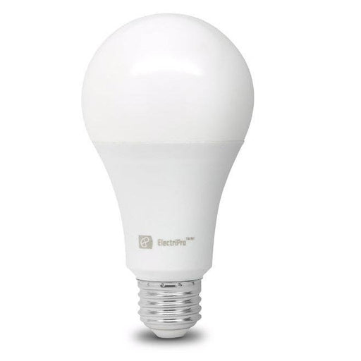Electripro LED 16W lamp replaces a standard 100W A21 lamp. This Energy Star qualified lamp is dimmable and produces Soft White Light (3000K). Rated for 15,000 hours of operation. SKU: EPO16A21LED830DFR UPC: 067805474603