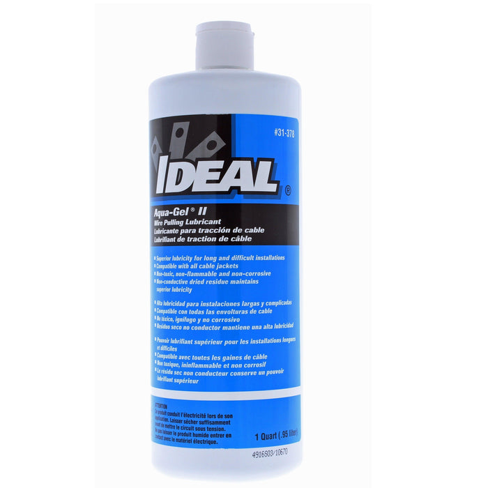 IDEAL Aqua-Gel® II Non-toxic cable pulling lubricant in clear blue color is a polymer-based formula that offers maximum tension reduction in high-stress electrical and communications cable-pulling operations. Lubricant dries to a semi-fluid film that won't clog conduit, and cleans up easily with soap/water. It remains temperature stable over a wide temperature range from 28°F to 180°F (-2°C to 88°C). SKU#: 31378 UPC: 783250313785