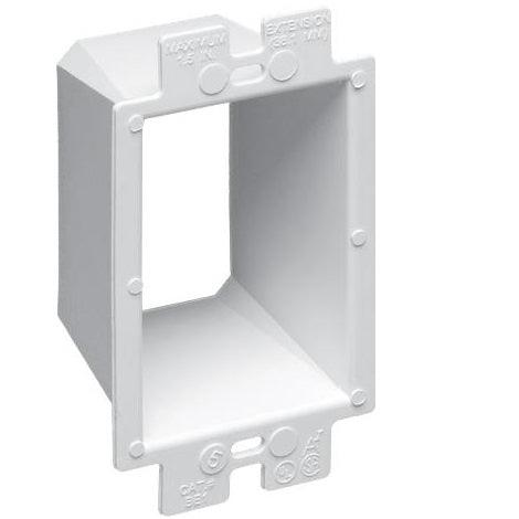Arlington's non-conductive box extenders extend set back metal or non-metallic electrical boxes up to 1-1/2 inches. They work with any single gang device and most steel and non-metallic outlet boxes, providing a level, fully supported wiring device that's flush with the wall surface.