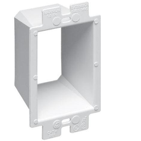 Arlington's non-conductive box extenders extend set back metal or non-metallic electrical boxes up to 1-1/2 inches.. SKU: ARLBE1  Model: BE1  UPC: 01899740160