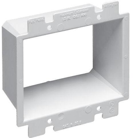 Arlington's non-conductive box extenders, extend set back metal or non-metallic electrical boxes up to 1-1/2 inches, the easy way. They work with any single gang device and most steel and non-metallic outlet boxes, providing a level, fully supported wiring device that's flush with the wall surface. SKU#: BE2 UPC: 018997489609