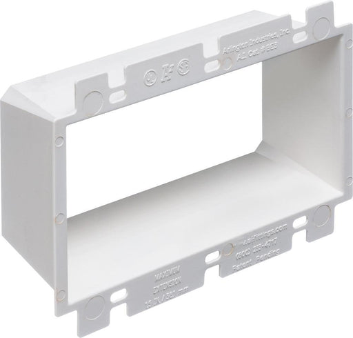 Arlington non-conductive box extenders, extend set back metal or non-metallic electrical boxes up to 1-1/2 inches, the easy way. They work with any single gang device and most steel and non-metallic outlet boxes, providing a level, fully supported wiring device that's flush with the wall surface.  Model: BE3  SKU: ARLBE2=3  UPC: 018997489678