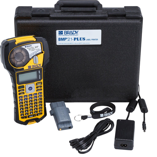 The BMP21 is a stand-alone portable label printer kit designed for every day on the job use. The field-ready durable label printer features rubber bumpers that provide shock and vibration protection from harsh impacts. Perfect for Barcode labeling, Cable & Wire Marking, Circuit Board Marking, Data Communications Labeling, Facility Identification, Maintenance Labeling, Panel Labeling, Safety Labeling, and any other labeling needs. SKU: BMP21PLUSKIT1 UPC: 754473928506