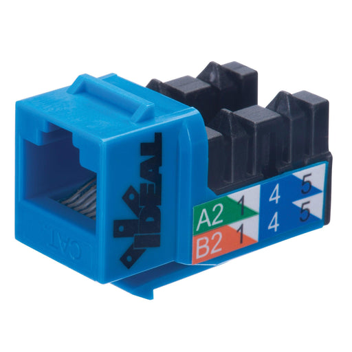 IDEAL Keystone Jacks are high performance modular jack connectors designed to exceed the CAT5e requirements giving installers the ability to use these products in residential and commercial installations for applications such as Gigabit Ethernet. SKU: IDE89750BU UPC: 783250778737