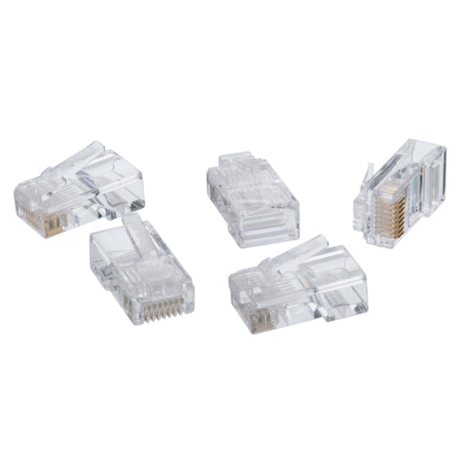 CAT5e 8P8C modular plug connectors support TIA/EIA standards for twisted pair cabling up to 100 MHz. IDEAL modular plugs are designed to work seamlessly with the IDEAL Telemaster and FT-45 series of modular plug crimp tools. Plugs are designed and manufactured to support all 100Ω cable wiring schemes including the widely used TIA-568A and TIA-568B configurations. SKU: IDE85346 UPC: 783250853465