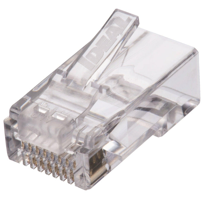 The Ideal CAT6 Feed-Thru RJ-45 Modular Plugs are designed to provide a simpler and faster method for assembling and terminating RJ-45 modular plugs. Wires feed-thru the connector and are trimmed flush when crimped with a compatible tool. SKU: IDE85375 UPC: 783250853755