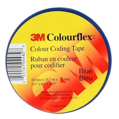 3M Colourflex Tape has outstanding electrical and mechanical properties, making this tape excellent for use in phase identification, color coding of motor leads and piping systems, and for marking safety areas. SKU: MMMCOLOURFLEXBLU  UPC: 051141044828