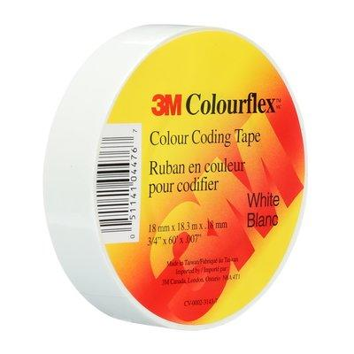 Identify leads, splices and terminations with Colourflex Tape. Its abrasion and weather resistant, perfect for mechanical and electrical insulation applications. This tape is flexible and durable allowing it to wrap smoothly and maintain a tight hold over a wide range of temperatures. SKU: MMMCOLOURFLEXWHT  UPC: 051141044767