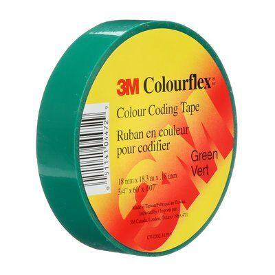 Identify leads, splices and terminations with Colourflex Tape. Its abrasion and weather resistant, perfect for mechanical and electrical insulation applications. This tape is flexible and durable allowing it to wrap smoothly and maintain a tight hold over a wide range of temperatures. SKU: MMMCOLOURFLEXGRN  UPC: 051141044729