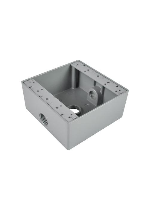 RAB aluminum boxes are durable and weather resistant. Ideal for industrial and commercial use.  2 Gang Aluminum Box  SKU#: RABD5313, RAB95786 UPC: 061184957863