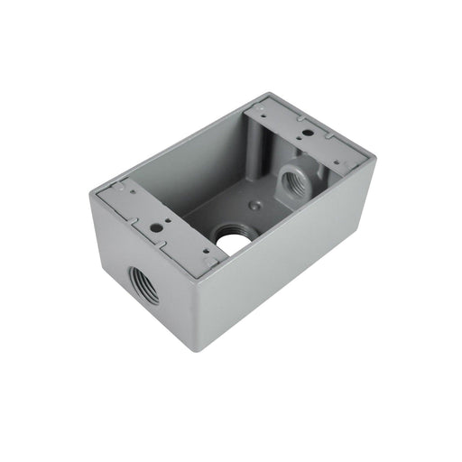 RAB 1-gang die cast aluminum boxes with two flex lugs for wall, pole mounting or outdoor outlets, sensors or floods are durable and weatherproof. Perfect for mounting lights, outlets, sensors and floods. SKU#: RABD5613, RAB95778 UPC: 061184957788