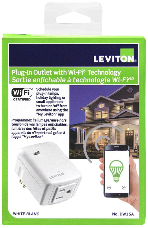 "Schedule your plugged-in appliances to turn on/off from anywhere using the ""My Leviton"" app with this Decora Smart plug-in outlet. SKU#: DW15A-1BW DW15A742  UPC: 07847779645 078477813485"