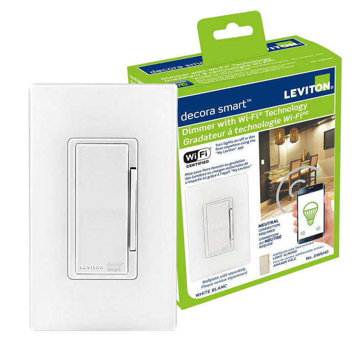 Control your lights from anywhere using an internet connection and the free My Leviton app with the Decora Smart LED/Incandescent Dimmer. This Smart Decora Dimmer allows you to easily group smart devices into rooms, and create scenes to activate multiple lights at once. SKU#: DW6HD701 UPC: 078477813492