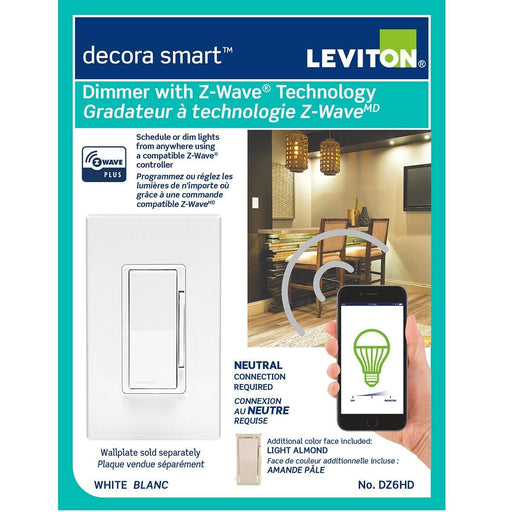 Never worry about if you left the lights on, this Decora Smart dimmer will help you save on electricity costs and give you a peace of mind knowing you can remotely control your lights from your smartphone. SKU#: DZ6HD751 SKU#:DZ6HD-1BZ UPC: 078477813386