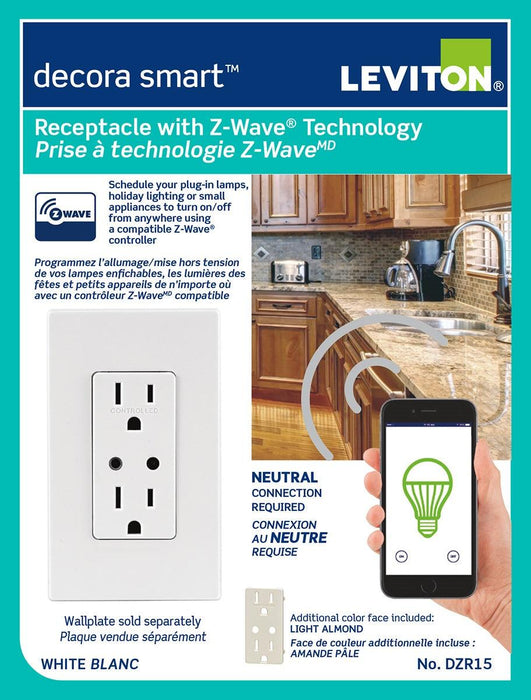 Compatible with most residential lighting and motor applications the Decora Smart receptacle is ideal for connecting lamps, space heaters, fans, and many other residential appliances. SKU#: DZR15-1RZ DZR15722 UPC: 078477831434 07847769402