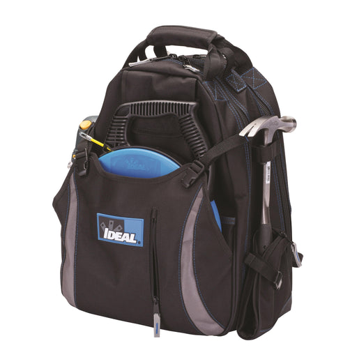 The IDEAL® Dual Compartment Tool Backpack provides a solution for any tradesperson needing to transport tools while still having their hands free. Designed with multiple pockets and spaces to hold all your tools with ease and without bulk. SKU: IDE35409 UPC: 783250793457