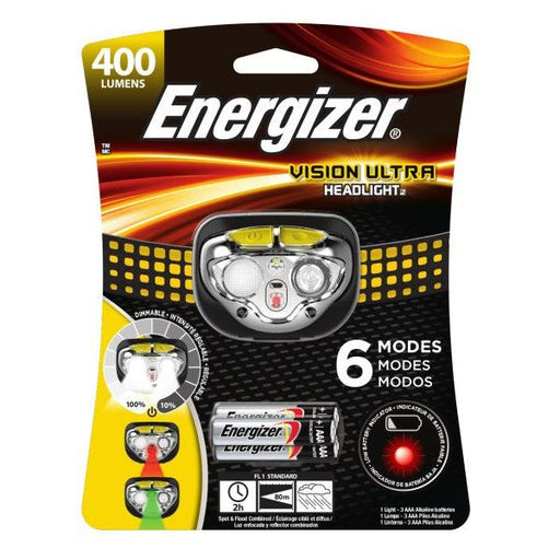 400 lumens Vision Ultra Energizer Headlamp features six different lighting modes. Perfect for outdoor activities or jobs that require the use of both hands. Model: HDE32E UPC: 039800132093
