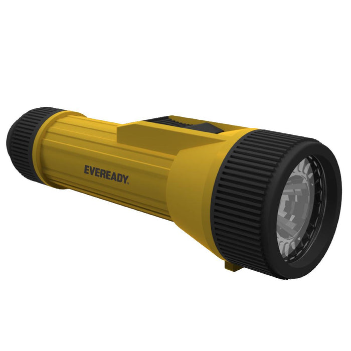 Energizer Eveready Industrial Economy 2D LED Flashlight is a compact and durable flashlight that provides superb illumination of 65 lumens. It is made up of strong, weather-resistant polypropylene which makes it perfect for wet or harsh work areas. SKU: EVEEVINL25S UPC: 039800120335
