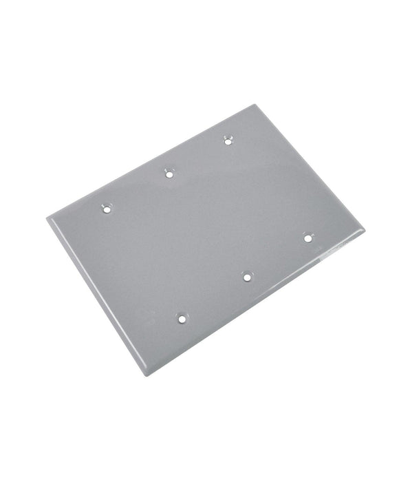 The FS-3C 3 gang aluminum cover is a stamped aluminum cover for 3 gang rectangular boxes. SKU#: RABFS3C, RAB8654  UPC: 061184086549