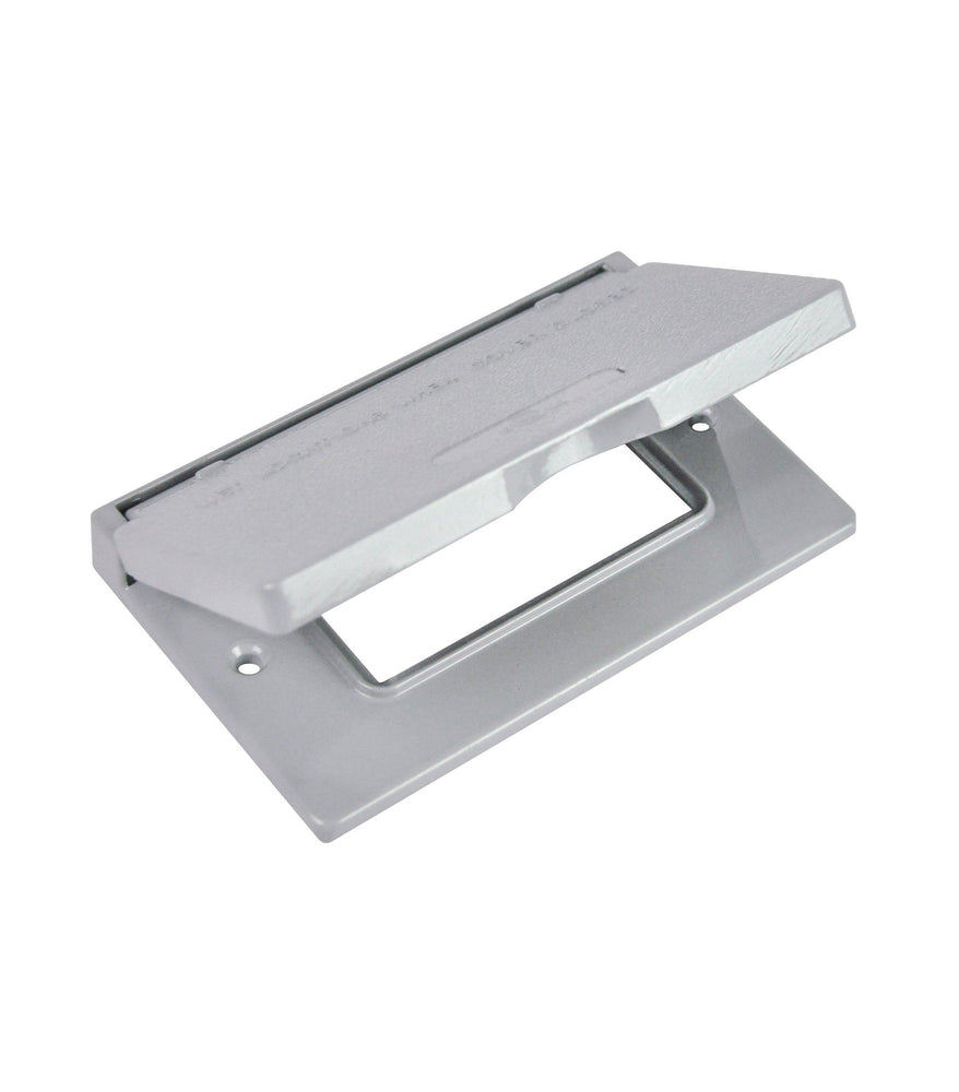 The GFI-H 1 gang horizontal cover is made of die cast aluminum, it has a spring-loaded lid and comes with weather seal gasket and screws. SKU#: RABGFIH, RAB8662 UPC: 061184086624
