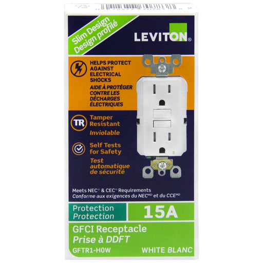 With the slimmest profile on the market, this GFCI device allows for fast and easy installation, while Leviton's patented reset lockout mechanism prevents reset of the GFCI if it is not wired or operating correctly. SKU#: GFTR1-PW, GFTR-H0W GFTR1762  UPC: 078477707838