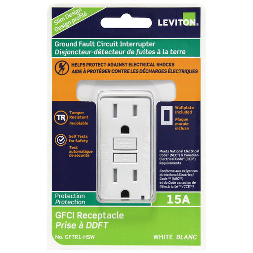 Leviton's self-testing, tamper resistant GFCIs periodically conduct an automatic internal test to confirm that it can respond to a ground fault. SKU#: GFTR1-W GFTR1-HSW  UPC: 078477707562