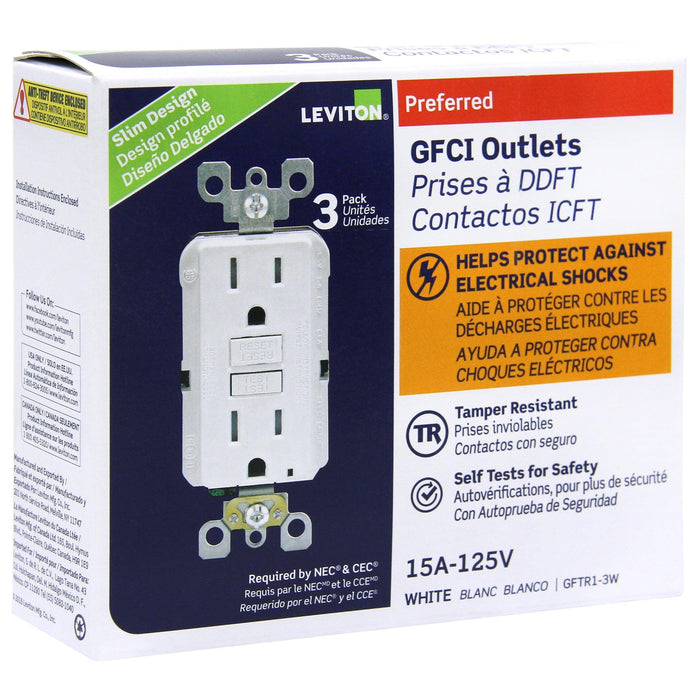 Designed to meet the latest UL standard for auto-monitoring, Leviton's complete line of self-test GFCIs periodically conduct an automatic internal test to confirm that it can respond to a ground fault. SKU# GFTR1 UPC: 078477706800