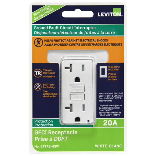 The SmartlockPro GFCI duplex receptacle is built with Leviton's patent technology to protect against electrical shocks. This device is designed to meet the latest UL standards for self-testing GFCIs, periodically conducting an automatic internal test to ensure it can respond to a ground fault. SKU#: LEVGFTR2772 GFTR2-HSW UPC: 078477708804 SKU#: LEVGFTR2772 GFTR2-HSW UPC: 078477708804