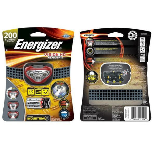 Energizer Industrial Vision HD Headlight is the perfect lighting solution for any activity or job that requires the use of both hands. Advanced dimming feature allows user to control light intensity in Spot & Flood. Model: HDBIN32E  UPC: 039800125590
