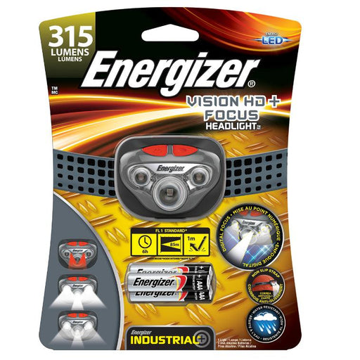 Energizer Industrial Vision HD+ Focus Headlight / Headlamp is a comfortable, light-weight and durable hands-free flashlight meant for use while running, cycling or working using both the hands. SKU: EVEHDDIN32E UPC:039800125606