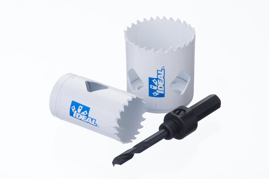 The IDEAL Bi-Metal Hole Saw utilizes M42 high-speed steel with 8% premium cobalt and a rigged solid backplate. Providing 2.3x more holes than leading manufactures with the highest strength and greater wear resistance. SKU: IDE36501   UPC: 783250783946