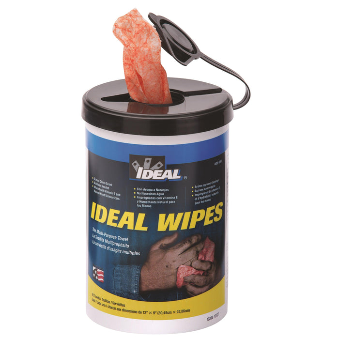 IDEAL wipes are made to be used for the toughest clean-up jobs and are safe to use on hands. The wipes are infused with Vitamin E and natural hand moisturizers to leave hands feeling clean, soft, and residue-free. One side of the wipe has a non-scratching, textured scrubbing surface, while the other is soft and smooth for use on delicate surfaces.  SKU: IDE38500   UPC: 783250385003