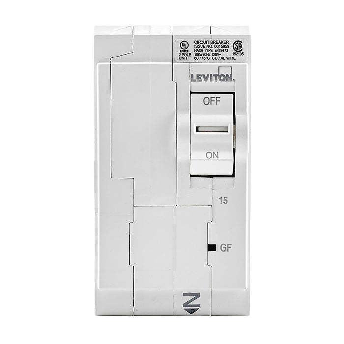 Leviton Circuit Breakers provide overload and short-circuit protection and feature an all plug-on design. GFPE circuit breakers provide protection of equipment from damaging line-to-ground fault currents by operating to cause a disconnecting means, to open all ungrounded conductors of the faulted circuit.  Model: LB215-EP UPC 078477814789
