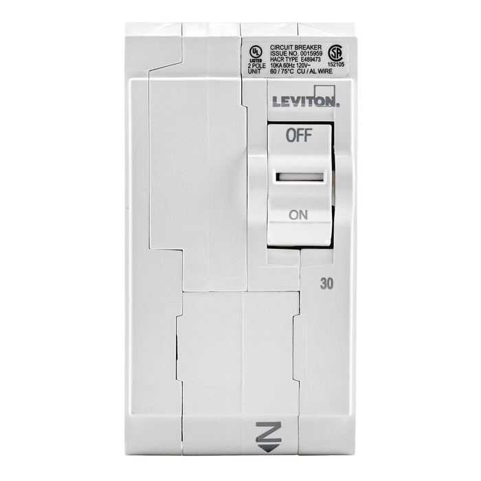Branch circuit breakers are easily plugged-on at final installation and feature LED colour indicators in the handle so user can easily see operational status at-a-glance. Model: LB230 UPC 078477814444