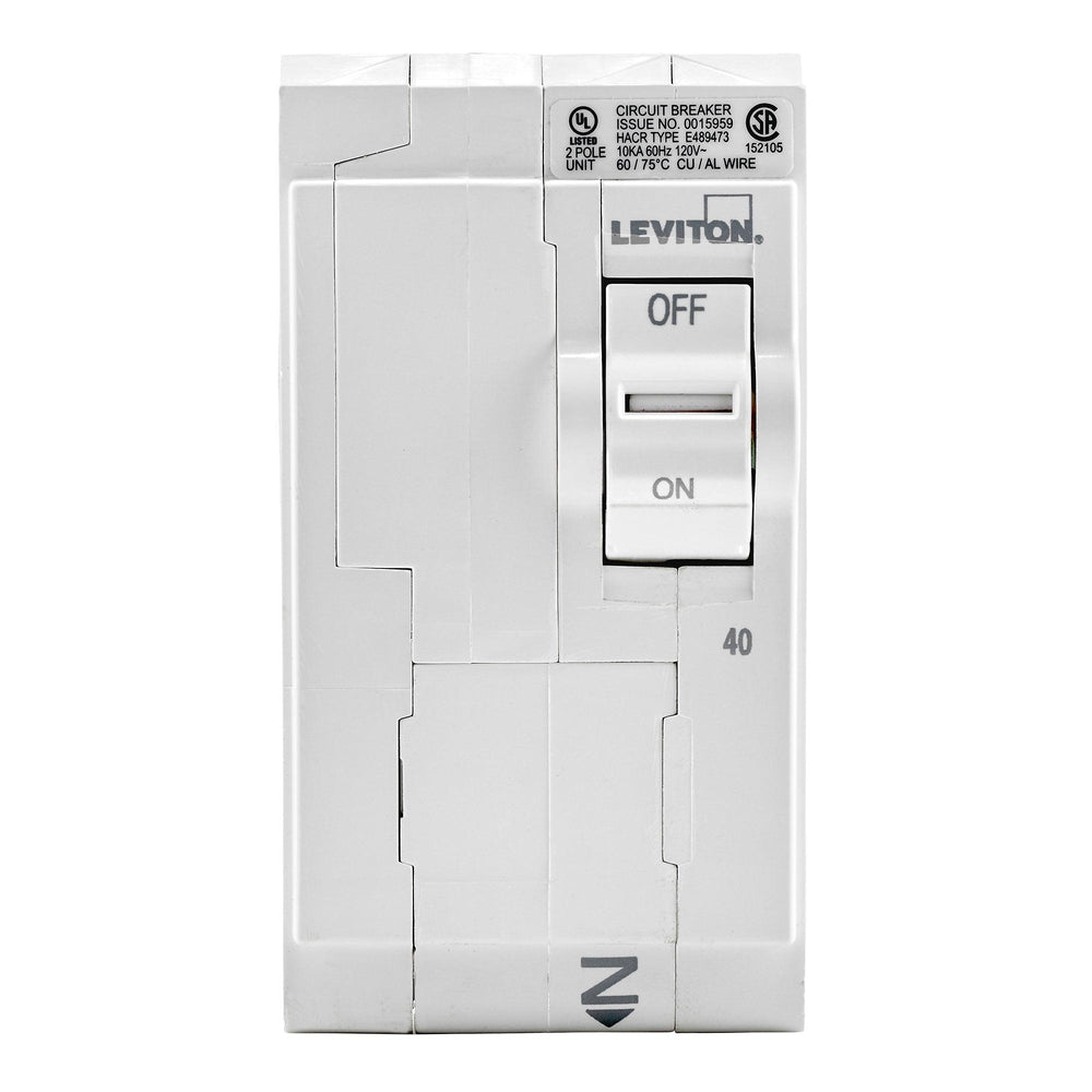 Leviton Circuit breakers are engineered to the highest standards so you can feel confident with every installation. Branch circuit breakers are easily plugged-on at final installation and feature LED colour indicators in the handle so user can easily see operational status at-a-glance. Model: LB240 UPC 078477814468