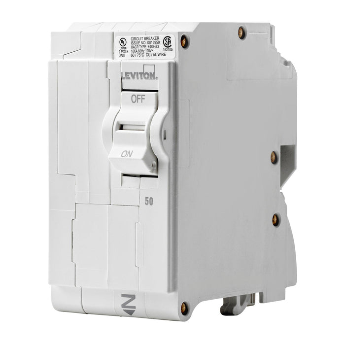 Leviton Branch circuit breakers are easily plugged-on at final installation and feature LED colour indicators in the handle so user can easily see operational status at-a-glance. Model: LB250 UPC 078477814437
