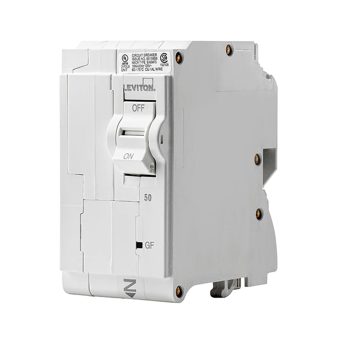Leviton GFCI circuit breakers have reset/lockout functionality and prevent reset of the device if it is not wired or operating correctly. Model: LB250-GF UPC 07847781476