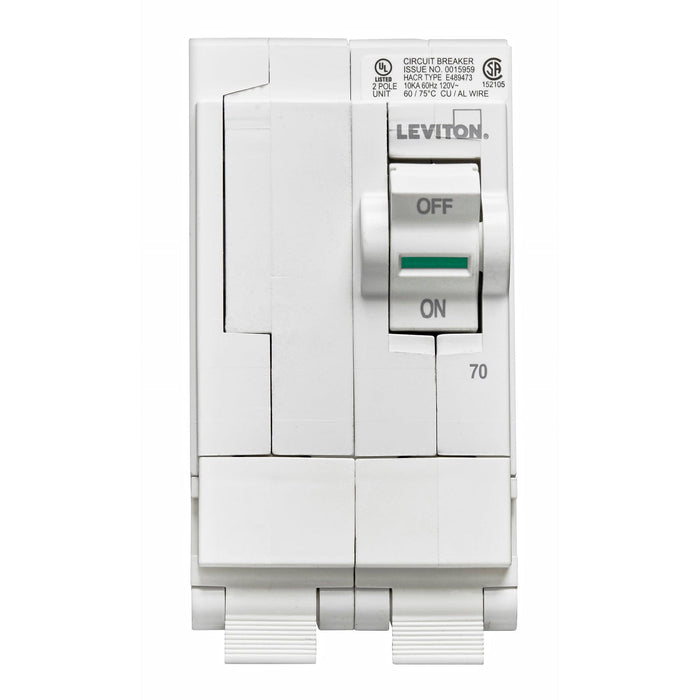 Leviton Circuit breakers are engineered to the highest standards so you can feel confident with every installation. Branch circuit breakers are easily plugged-on at final installation and feature LED colour indicators in the handle so user can easily see operational status at-a-glance. Model: LB270 UPC 078477814536