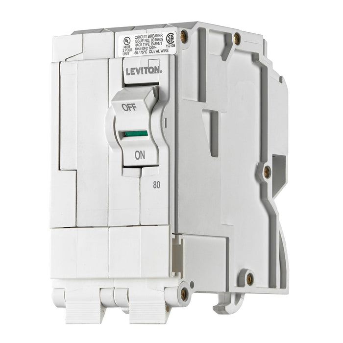 Leviton Circuit breakers are engineered to the highest standards so you can feel confident with every installation. Branch circuit breakers are easily plugged-on at final installation and feature LED colour indicators in the handle so user can easily see operational status at-a-glance. Model: LB280  UPC 078477814529