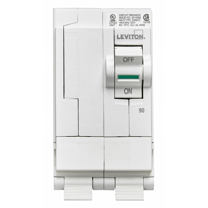 Leviton Circuit breakers are engineered to the highest standards so you can feel confident with every installation. Branch circuit breakers are easily plugged-on at final installation and feature LED colour indicators in the handle so user can easily see operational status at-a-glance. Model: LB290 UPC 078477814512