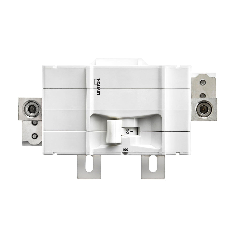 Leviton Main Circuit Breakers provide overload and short-circuit protection and feature an all plug-on design. All hot and neutral wires terminate at custom lugs in the panel, not at the circuit breaker. Model: LM100 UPC: 078477815410