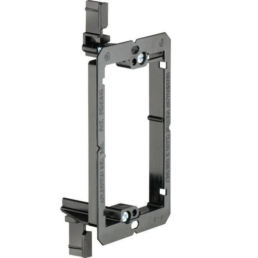 "Arlington non-metallic Low Voltage Mounting Bracket are for installing low- voltage class 2 communications, cable tv, and computer wiring. Designed for use with 1/4"" or 1"" drywall installed on furring strips attached to concrete walls. SKU: LV1 UPC 018997581754"