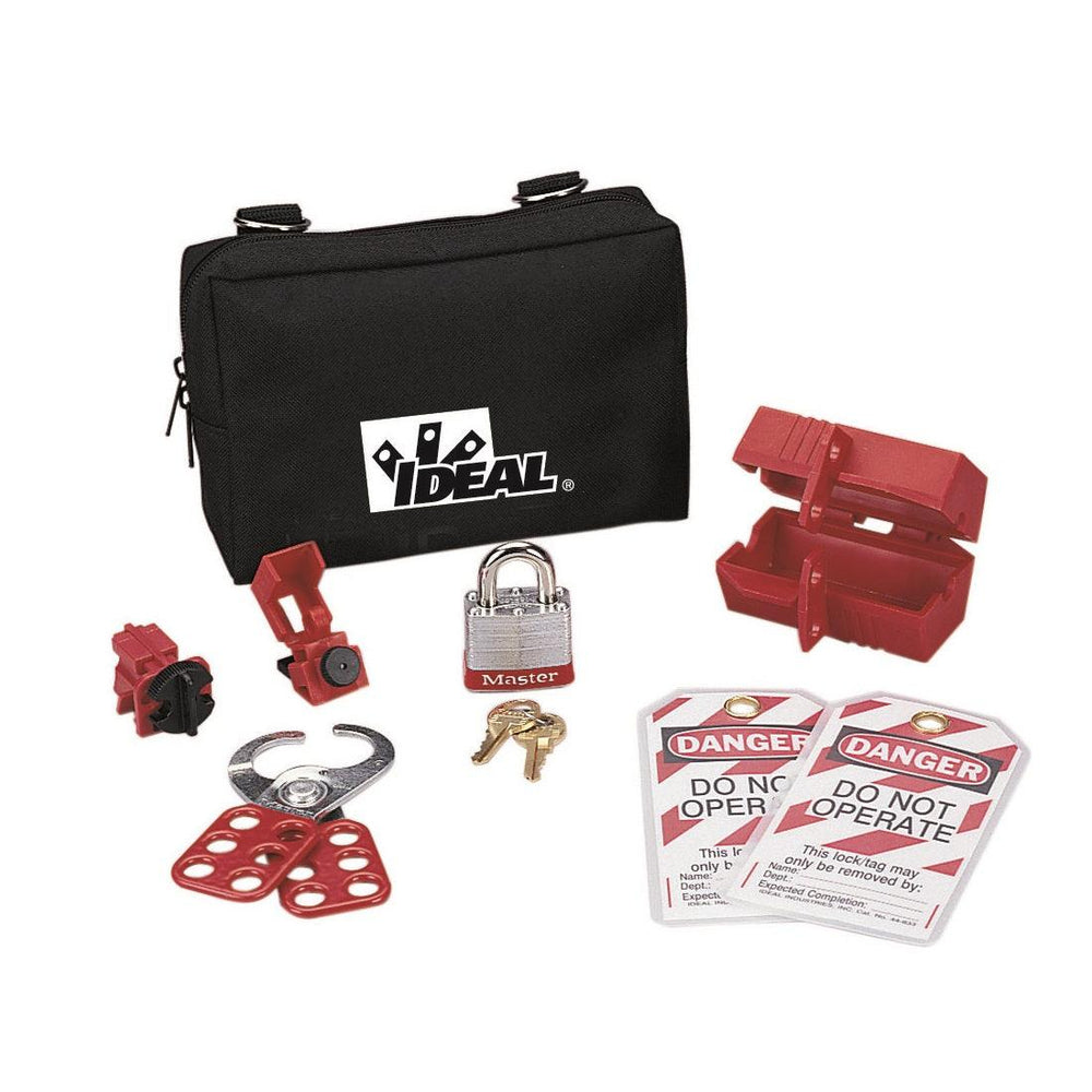 The Starter Lockout/Tagout Kit offers a starter selection of the lockout/tagout devices every electrician/maintenance person needs, all conveniently stowed in a small nylon zipper pouch with belt loops/D-rings for easy attachment to belts, tool pouches and tool carts. SKU: IDE38500 UPC: 783250547449