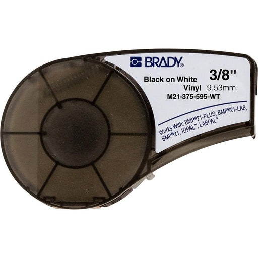 "Black on White Vinyl Cartridge 0.375"" W x 21 ft L - Vinyl wrap-around tape labels are flexible and can tightly fit around pipes, equipment, shelves and most industrial surfaces. The M21 Series Vinyl Cartridges can be used with the BMP21 Series Label printer and can be used for all your labeling needs. SKU: BRYM21375595WT UPC: 662820966548"