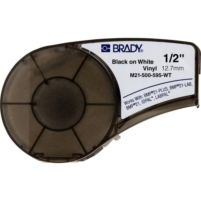 "Black on White Vinyl Cartridge for BMP21 Plus Printer - 0.5"" X 21 ft - Vinyl wrap-around tape labels are flexible and can tightly fit around pipes, equipment, shelves and most industrial surfaces. The M21 Series Vinyl Cartridges can be used with the BMP21 Series Label printer and can be used for all your labeling needs. SKU: M21500595WT UPC: 662820966616"
